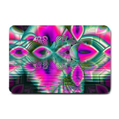 Crystal Flower Garden, Abstract Teal Violet Small Door Mat by DianeClancy