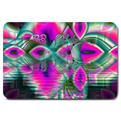 Crystal Flower Garden, Abstract Teal Violet Large Door Mat by DianeClancy