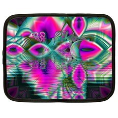 Crystal Flower Garden, Abstract Teal Violet Netbook Sleeve (large) by DianeClancy