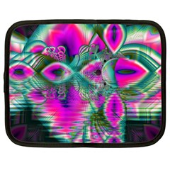 Crystal Flower Garden, Abstract Teal Violet Netbook Sleeve (xxl) by DianeClancy
