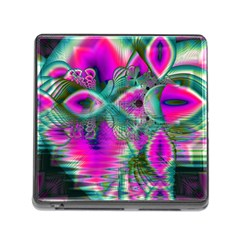 Crystal Flower Garden, Abstract Teal Violet Memory Card Reader With Storage (square)