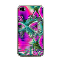 Crystal Flower Garden, Abstract Teal Violet Apple Iphone 4 Case (clear) by DianeClancy