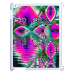 Crystal Flower Garden, Abstract Teal Violet Apple Ipad 2 Case (white) by DianeClancy