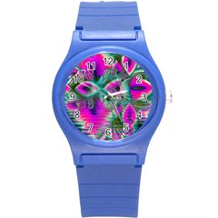 Crystal Flower Garden, Abstract Teal Violet Plastic Sport Watch (small) by DianeClancy
