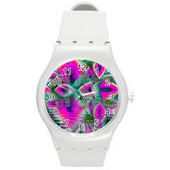 Crystal Flower Garden, Abstract Teal Violet Plastic Sport Watch (medium) by DianeClancy