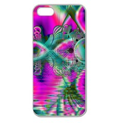 Crystal Flower Garden, Abstract Teal Violet Apple Seamless Iphone 5 Case (clear) by DianeClancy