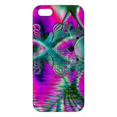 Crystal Flower Garden, Abstract Teal Violet Apple Iphone 5 Premium Hardshell Case by DianeClancy