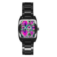 Crystal Flower Garden, Abstract Teal Violet Stainless Steel Barrel Watch by DianeClancy