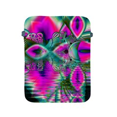 Crystal Flower Garden, Abstract Teal Violet Apple Ipad Protective Sleeve by DianeClancy