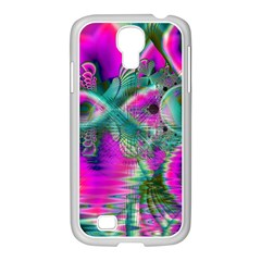 Crystal Flower Garden, Abstract Teal Violet Samsung Galaxy S4 I9500/ I9505 Case (white) by DianeClancy