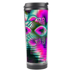 Crystal Flower Garden, Abstract Teal Violet Travel Tumbler by DianeClancy