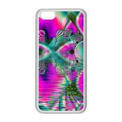 Crystal Flower Garden, Abstract Teal Violet Apple Iphone 5c Seamless Case (white) by DianeClancy