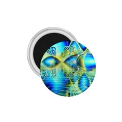 Crystal Lime Turquoise Heart Of Love, Abstract 1 75  Button Magnet by DianeClancy