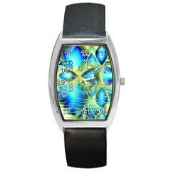 Crystal Lime Turquoise Heart Of Love, Abstract Tonneau Leather Watch by DianeClancy