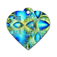 Crystal Lime Turquoise Heart Of Love, Abstract Dog Tag Heart (one Sided)  by DianeClancy