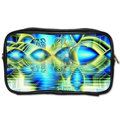 Crystal Lime Turquoise Heart Of Love, Abstract Travel Toiletry Bag (one Side) by DianeClancy