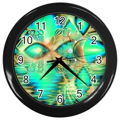 Golden Teal Peacock, Abstract Copper Crystal Wall Clock (black) by DianeClancy
