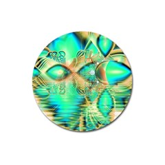 Golden Teal Peacock, Abstract Copper Crystal Magnet 3  (round)