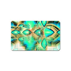 Golden Teal Peacock, Abstract Copper Crystal Magnet (name Card) by DianeClancy