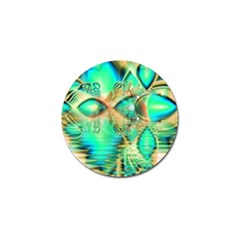 Golden Teal Peacock, Abstract Copper Crystal Golf Ball Marker by DianeClancy
