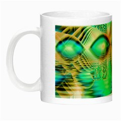 Golden Teal Peacock, Abstract Copper Crystal Glow In The Dark Mug by DianeClancy