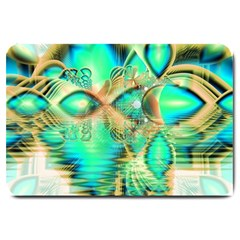 Golden Teal Peacock, Abstract Copper Crystal Large Door Mat by DianeClancy