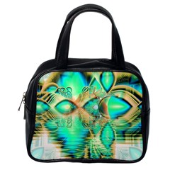 Golden Teal Peacock, Abstract Copper Crystal Classic Handbag (one Side) by DianeClancy