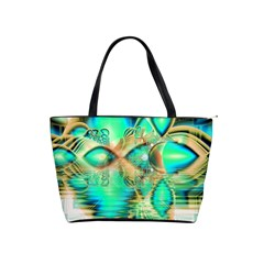 Golden Teal Peacock, Abstract Copper Crystal Large Shoulder Bag by DianeClancy