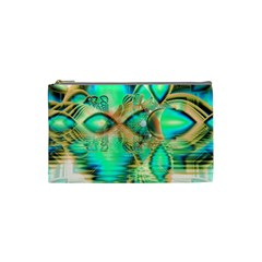 Golden Teal Peacock, Abstract Copper Crystal Cosmetic Bag (small) by DianeClancy