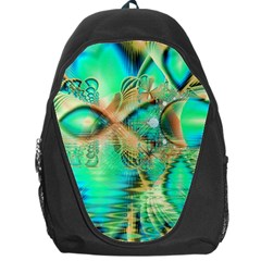Golden Teal Peacock, Abstract Copper Crystal Backpack Bag by DianeClancy