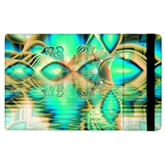 Golden Teal Peacock, Abstract Copper Crystal Apple Ipad 2 Flip Case by DianeClancy