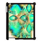 Golden Teal Peacock, Abstract Copper Crystal Apple iPad 3/4 Case (Black) Front