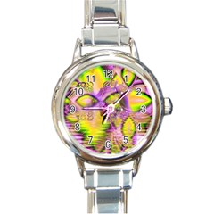 Golden Violet Crystal Heart Of Fire, Abstract Round Italian Charm Watch by DianeClancy