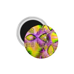 Golden Violet Crystal Heart Of Fire, Abstract 1 75  Button Magnet
