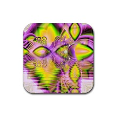 Golden Violet Crystal Heart Of Fire, Abstract Drink Coaster (square) by DianeClancy
