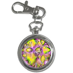 Golden Violet Crystal Heart Of Fire, Abstract Key Chain Watch by DianeClancy