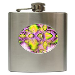 Golden Violet Crystal Heart Of Fire, Abstract Hip Flask by DianeClancy