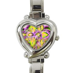 Golden Violet Crystal Heart Of Fire, Abstract Heart Italian Charm Watch  by DianeClancy
