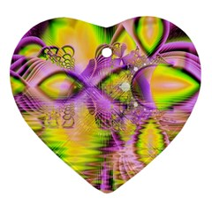 Golden Violet Crystal Heart Of Fire, Abstract Heart Ornament (two Sides)