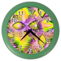 Golden Violet Crystal Heart Of Fire, Abstract Wall Clock (color) by DianeClancy