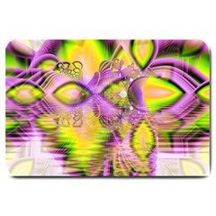 Golden Violet Crystal Heart Of Fire, Abstract Large Door Mat by DianeClancy