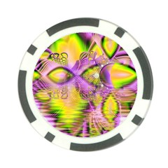 Golden Violet Crystal Heart Of Fire, Abstract Poker Chip by DianeClancy