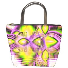 Golden Violet Crystal Heart Of Fire, Abstract Bucket Handbag by DianeClancy