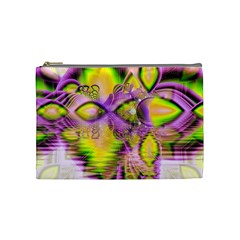 Golden Violet Crystal Heart Of Fire, Abstract Cosmetic Bag (medium) by DianeClancy