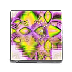 Golden Violet Crystal Heart Of Fire, Abstract Memory Card Reader With Storage (square)