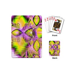 Golden Violet Crystal Heart Of Fire, Abstract Playing Cards (mini) by DianeClancy