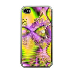 Golden Violet Crystal Heart Of Fire, Abstract Apple Iphone 4 Case (clear)
