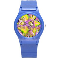 Golden Violet Crystal Heart Of Fire, Abstract Plastic Sport Watch (small) by DianeClancy