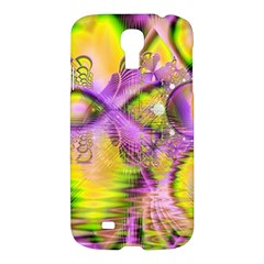 Golden Violet Crystal Heart Of Fire, Abstract Samsung Galaxy S4 I9500/i9505 Hardshell Case by DianeClancy