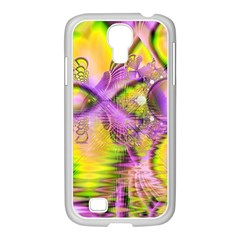 Golden Violet Crystal Heart Of Fire, Abstract Samsung Galaxy S4 I9500/ I9505 Case (white) by DianeClancy